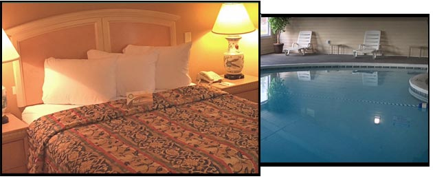 Quality Inn room and indoor pool